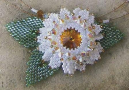 White flower & leaves for pendant or broach.  Schema only.  #seed #bead #tutorial