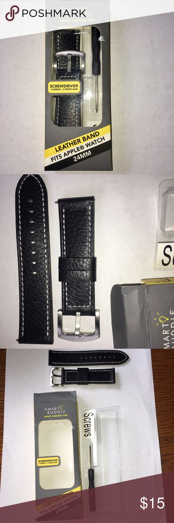 NEW BLACK APPLE WATCH BAND FOR 42mm size NEW BLACK LEATHER WATCH BAND FOR 42mm APPLE WATCH. Genuine leather matte croco 24mm width band fits 42mm size Apple Watch Screwdriver and 4 screws included for easy removal and installation of leather watch straps 2 spring bars also included for use with any 24mm standard width watch Stainless steel hardware and double keepers included for a secure fit while wearing Black croco replacement watch bands add a stylish look to your Apple Watch fits apple…