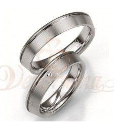 Ασημένιες βέρες γάμου με διαμάντι - breuning - 8005-8006