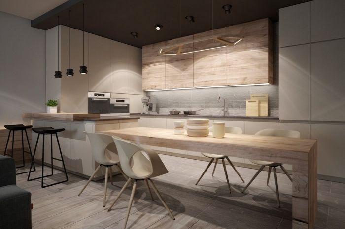 Exemple de cuisine moderne au plafond gris anthracite et - Cuisine bois gris clair ...