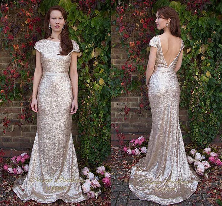 Bling Bling Gold Sequin Long Bridesmaid Dresses 2015 Elegant Jewel Neck Cap Sleeve Prom Dress Custom Green/Royal Blue Maid Honor Gowns LH