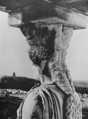 Walter Hege, caryatid, c. 1930. Hege was a prominent architectural photographer who, having joined the Nazis, found great success after 1933. His photo shows Athens from the point of view of one of the caryatids: an emblem of Nazi hubris