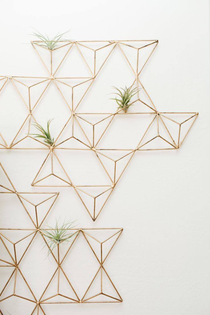 brass geometric wall art sprinkled with air plants
