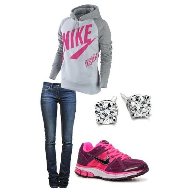sporty, cuz nothing goes with a sweatshirt and tennis shoes like diamond  earrings.) I would have different Nikes!