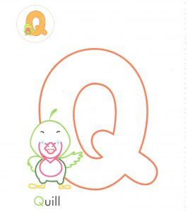 alphabet-letter-q-Q-quill-coloring-page-for-preschool