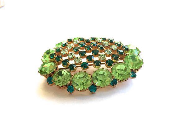 Austrian Crystal Rhinestone brooch Shades of green Domed
