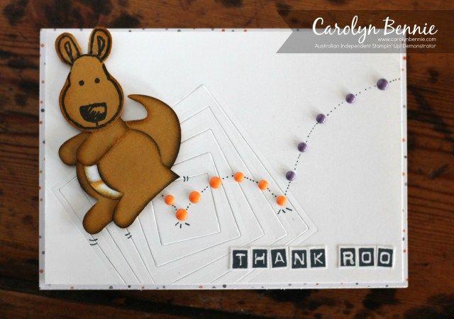 Thank Roo - Kangaroo Cookie Cutter Punch Card - Carolyn Bennie