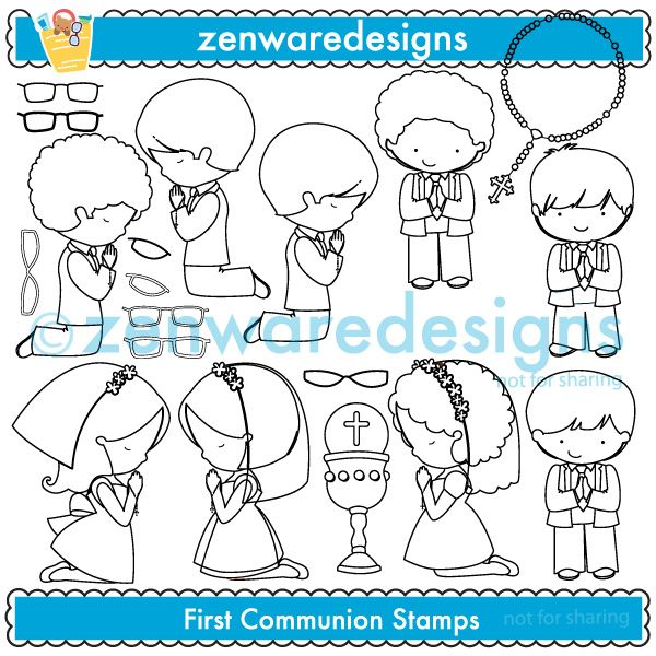 By popular demand - stamp variations of the First Communion characters, complete with glasses to add on to those sweet little eyes. These characters are celebrating the young child's third Sacrament! This set would be great for a First Communion celebration! Perfect for the party invitations, tote bags, note pads and monogramming! The simple lines suit embroidery as well! Glasses best used when working with EPS or PNG files. Glasses may also be used on other Zenware Designs characters.