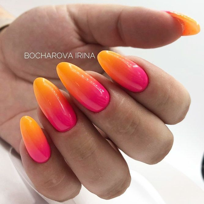 39 Breathtaking Designs For Almond Nails To Refresh Your Look Almond Nails Orange Ombre Nails Almond Acrylic Nails