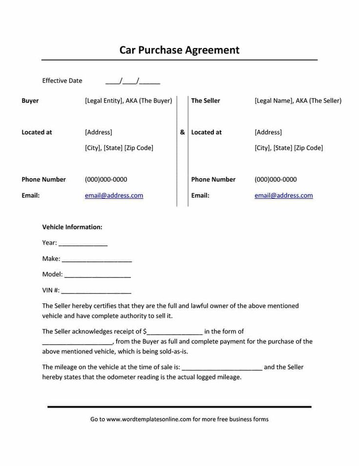 28 car buying contract template in 2020 contract