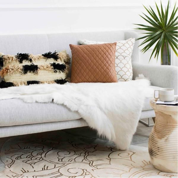Quilted Tan Leather Cushion
