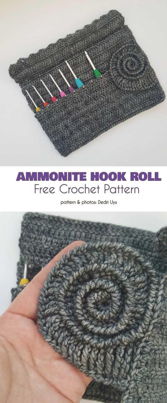 Padrão de crochê livre de rolo de gancho de amonite