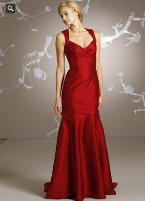 Jim Hjelm red taffeta bridesmaid trumpet gown bridesmaid dress jh5125