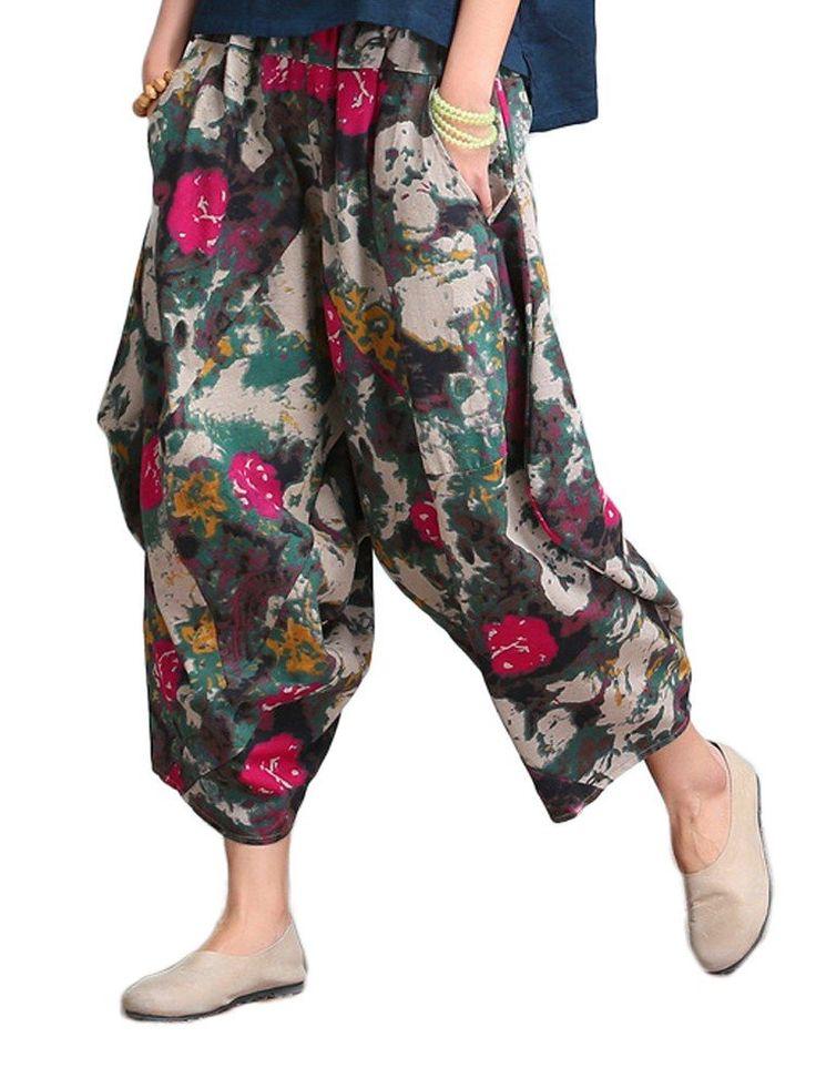 Women Flower Printed Pocket Elastic Waist Linen Harem Pants - Newchic Plus Size Bottoms