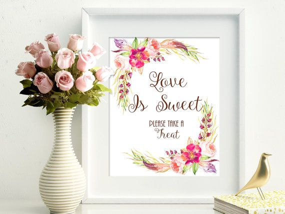 Love Is Sweet printable wedding sign. 8x10 by PrintableMemoriesCo