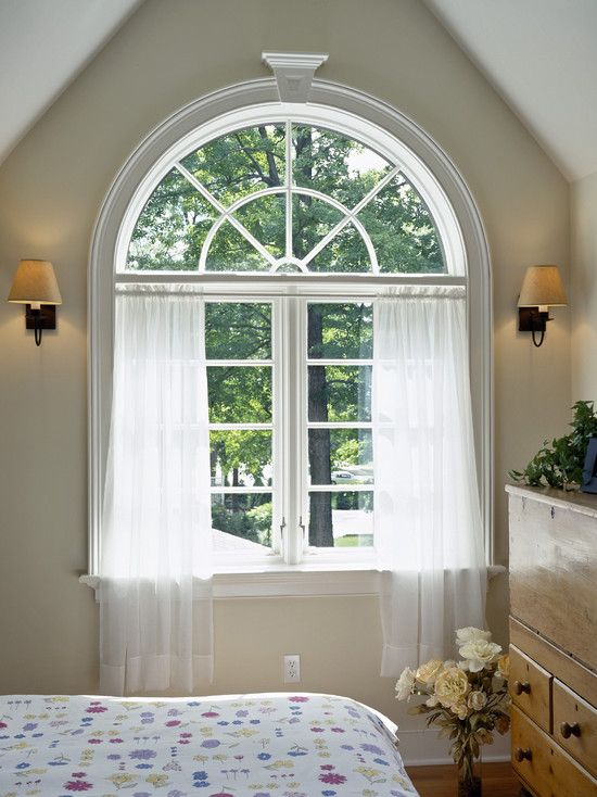 Wonderful Arch Window Treatments Ideas: Wonderful Bedroom With Exciting Arch Window Treatments With Gorgeous White Transparent Arch Window Curtains Also Classic Wall Lights And Cool Wooden Bureau Also Beauty Flower Ornament