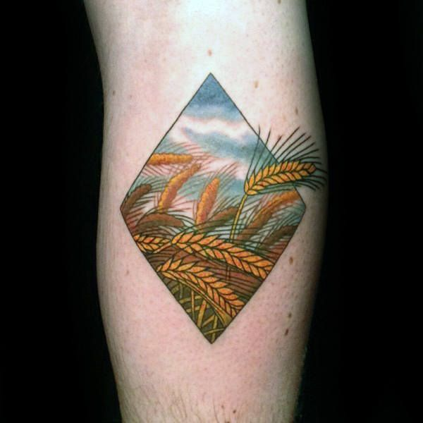 Farm Wheat Blowing In The Wind Guys Inner Arm Tattoos