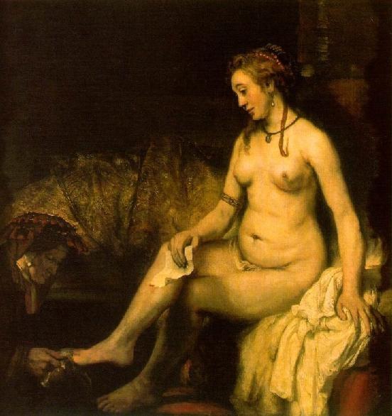 하르먼스 판 레인 렘브란트(Harmensz van Rijn Rembrandt)의 목욕하는 밧세바(Bethsabee au bain) / 1654 / 루브르 박물관 소장