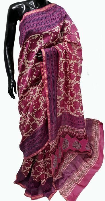 Pink Hand Block Printed Chanderi  Silk Saree