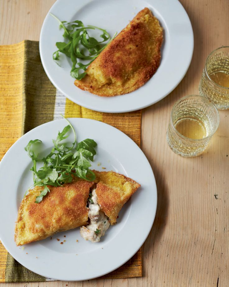 Crispy pancakes are filled with a creamy chicken and mushroom