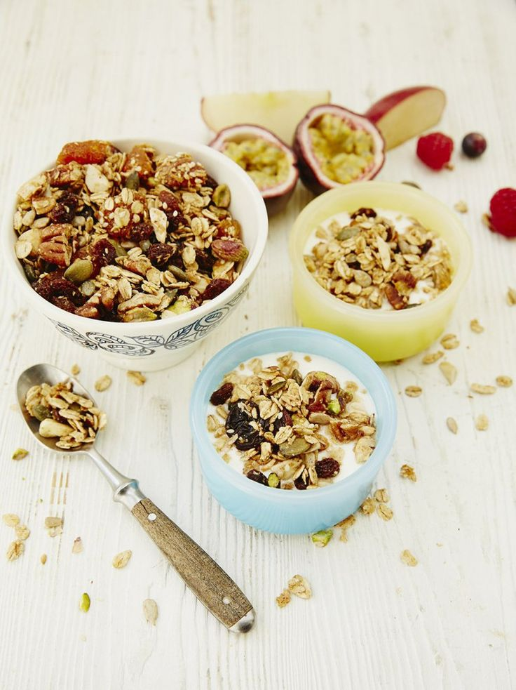 """Jools' gorgeous granola """"This is a great recipe to make in a big batch. We don't really eat bowlfuls of it, but instead use it to sprinkle on top of yoghurt or porridge to give it a bit of sweetness and crunch, so it's always handy to have some in an airtight container, ready and waiting """""""