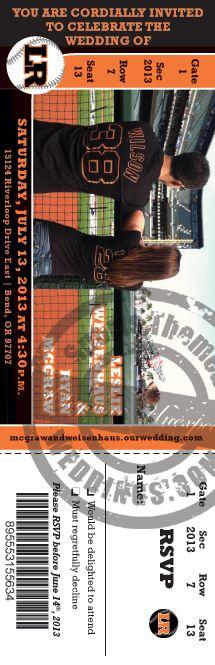 Best Baseball Wedding Ticket Invitation! #baseballwedding #stwdotcom