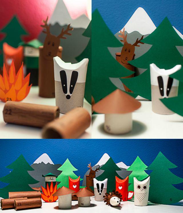 """DIY advent calendar for kids with animals (a friendly badger, two lovely foxes, an adorable hedgehog, a wise owl and a funny deer) and a forest scene. Made out of toilet paper rolls and crafts paper /// DIY-Adventskalender """"Tiere im Wald"""" aus alten Papierrollen und Bastelpapier - in den hauptrollen: ein freundlicher Dachs, ein lustiger Hirsch, zwei putzige Füchse, eine weise Eule und ein liebenswerter Igel"""