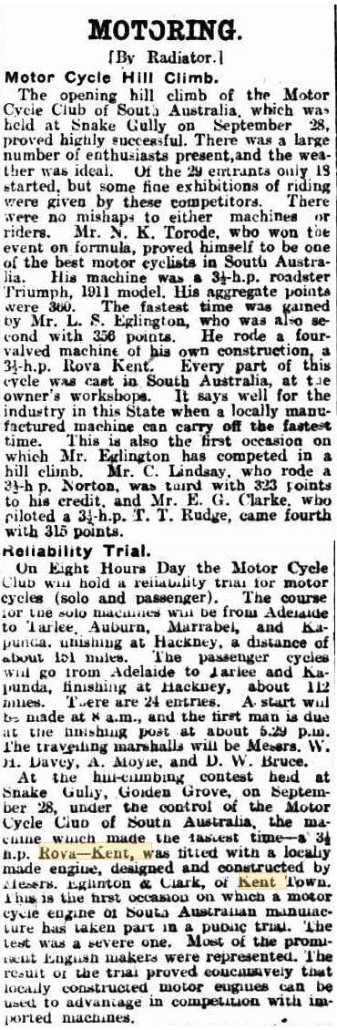 1912 Rova Kent 3.5 h.p. four-valve South Australian Hill Climb 28 Sept 1912