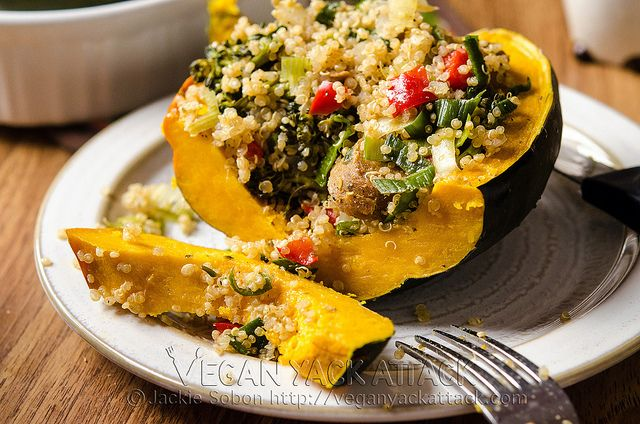 Vegan - Quinoa-Stuffed Acorn Squash - my mom made these today and they are yummy. It's a whole meal. Non-vegans can add their favorite sausage. - NF