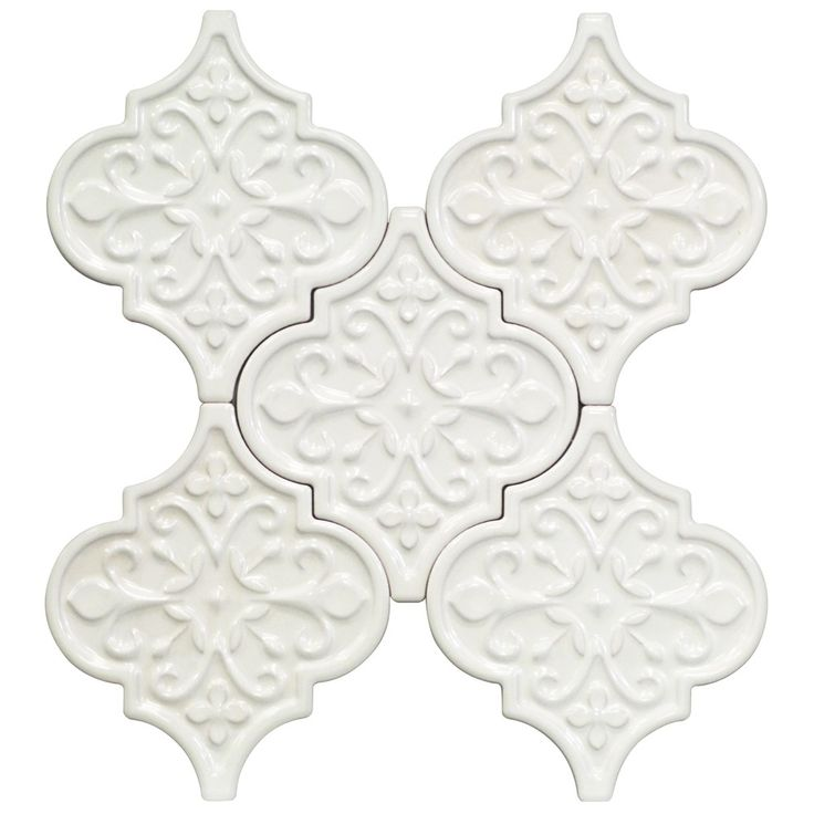 "Byzantine Florid Radiance Bianco Ceramic tile Size: 6 1/4"" x 7 1/4"" Color:White Material:Ceramic Finish:Polished Coverage 0.90 Sq. Ft. Sold By The Unit:5 Loose Pieces Please note each lot will vary from the next. Thickness 9 mm"