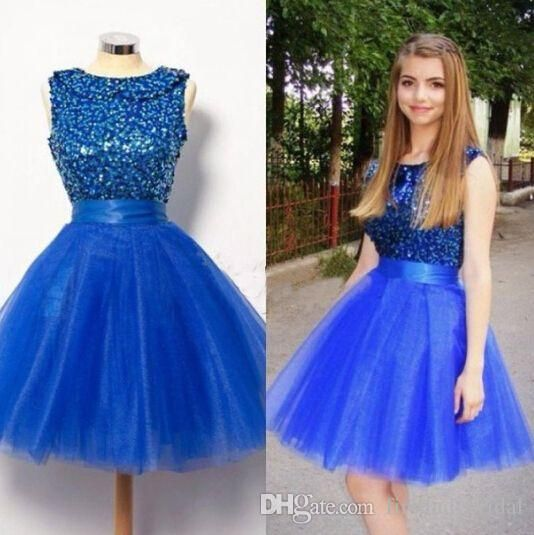 Short Homecoming Dresses 2016 Royal Blue Crew Neck Beaded Sequins Prom Gowns Tulle Mini Youthful Party Dress For Girls Cheap Online Red Carpet Dresses Special Occasion Dresses From Firstladybridal, $92.33| Dhgate.Com