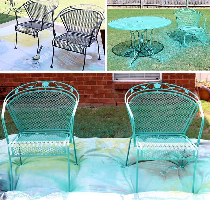 How To Paint Patio Furniture with Chalk Paint® - so cool - she used a HomeRight Finish Max paint sprayer to paint her patio furniture!
