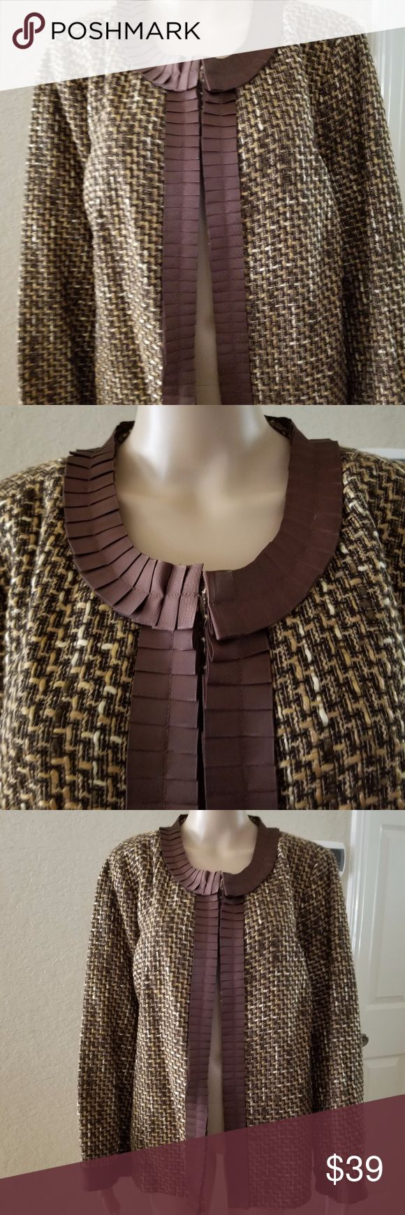 """Scott Taylor women's tweed Jacket For your consideration:  Scott Taylor women's tweed Jacket Open front   Color Brown/ camel  Size 1X   Condition New With Tag  Style 8W644251  Measurement approximately:  Underarm to underarm 25""""  Sleeve 23.5""""  Front length from shoulder to hem 25"""" Scott Taylor Jackets & Coats Blazers"""
