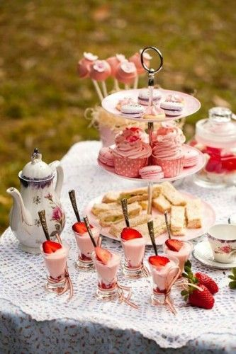 High Tea array. These days its quite all right to have champagne or cocktails, coffee and any kind of sweet treat.
