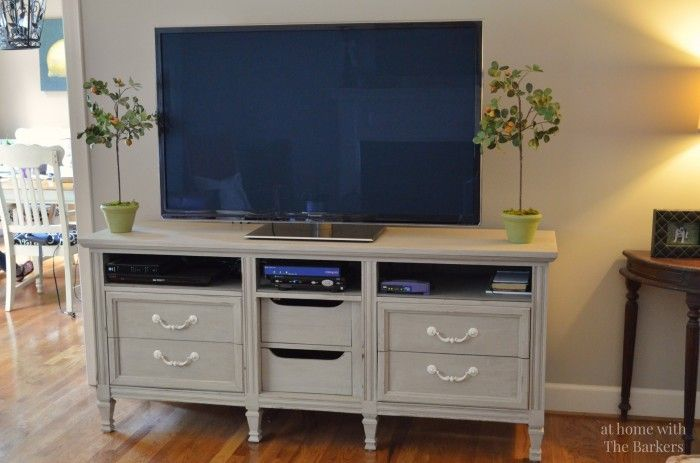 TV Stand Makeover painted with mindful gray and glazed with gauntlet.  Both are Sherwin Williams colors that I really love.  Perfect if you are looking for true gray.