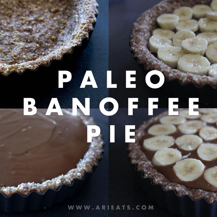 Paleo Banoffee Pie by Ari Eats ♥ This recipe has a no-bake crust and is filled with delicious caramel made of coconut sugar, coconut cream (or milk) and peanut butter. Topped with banana and whipped coconut cream, dusted with cacao powder and coconut sugar - this is a indulgent treat sure to please the entire family.