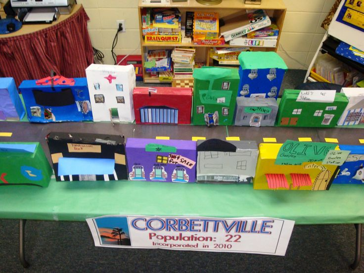 For our community unit, every student chose a different building to create. We set it up on a long table in the classroom.