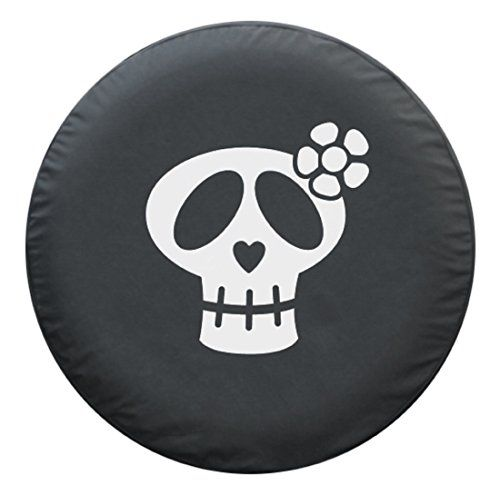 30 Girly Skull  Spare Tire Cover  Black Denim Vinyl  White Print  Made in the USA >>> More info could be found at the image url.