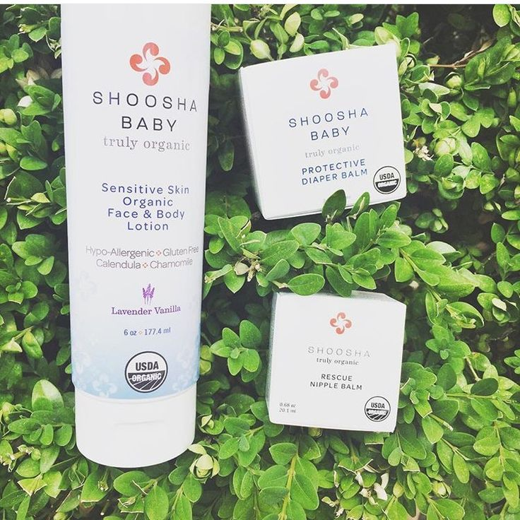 Shoosha Baby!  New Packaging for our Sensitive Skin Organic Face and Body Lotion, Rescue Nipple Balm, and Protective Diaper Balm!