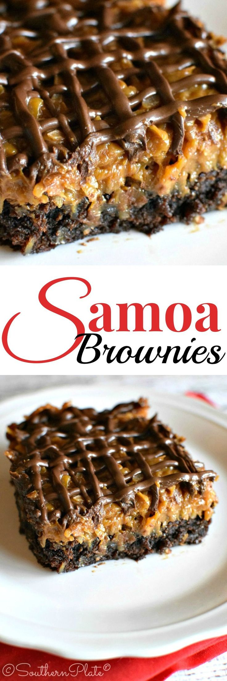 Samoa Brownies - So good! Very quick and easy, too. I made the brownies from scratch (my mom's Hershey's cocoa recipe, but using Bourneville cocoa powder), and added chopped pecans to both the brownies and the coconut-caramel topping. Very rich, lovely with coffee or espresso :)