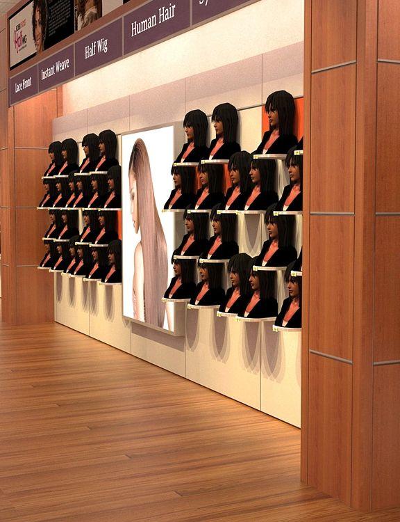 Slatwall Hair Display Racks Wig Display Shelf Retail Store Interior Design Beauty Room Decor Store Design Boutique