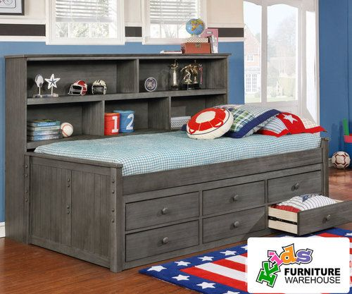 Buy the Allen House Twin Size Bookcase Captains Daybed in Driftwood Grey Finish at Kids Furniture Warehouse; The Allen House Captains Bed features solid wood construction and premium craftsmanship found in only the best furniture.