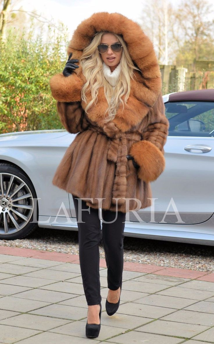 NEW BROWN SAGA MINK FUR LONG JACKET FOX HOOD CLASS OF SABLE CHINCHILLA COAT VEST | eBay