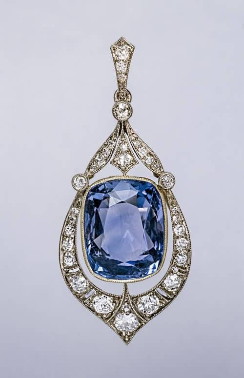 -Rare 12.47 Ct Ceylon Sapphire and Diamond Art Deco Pendant. $28,500