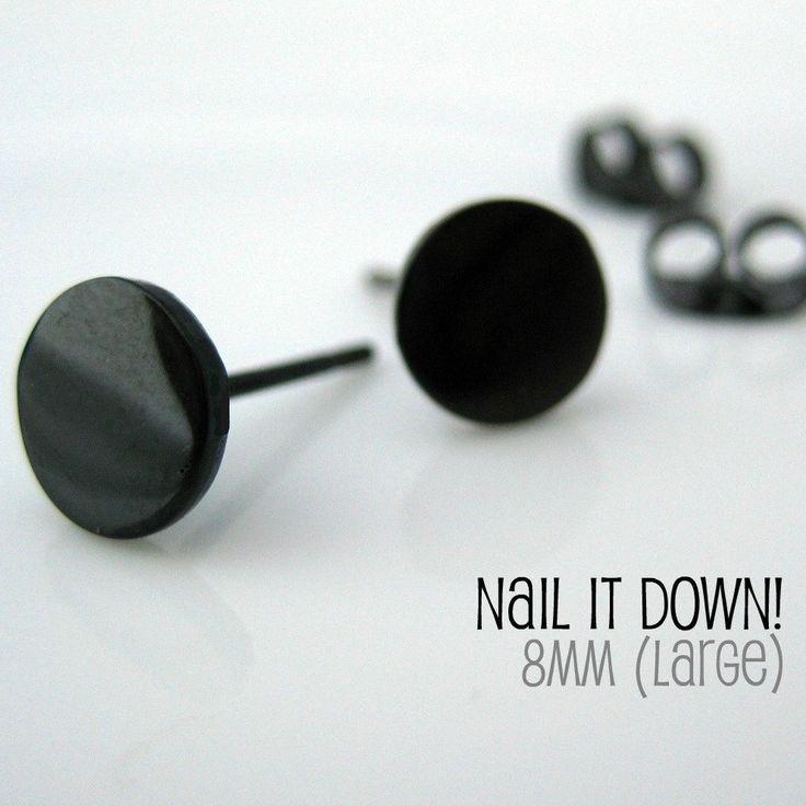 Mens Earrings Black Stud Earrings for Men Nail It by 360Jewels
