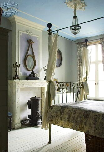 curtain loops for the iron bed eclectic bedroom