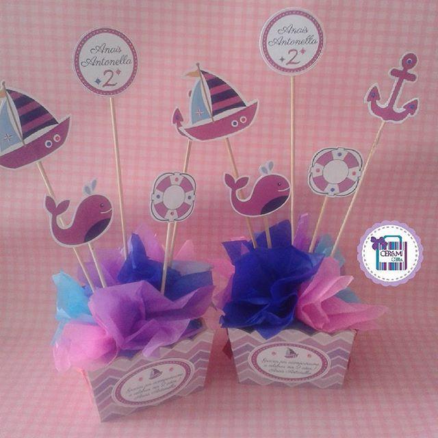 #mulpix Centro de mesa con motivo Nautico Girls..!  #centrodemesa  #ancla  #barco  #party  #fiesta  #cumpleaños   #decoracion  #nautico  #pink  #niñas  #scrapbook  Nuestro correo: dmcerami_gifts@hotmail.com
