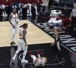 "Kevin ""Flu"" Love Falls Down and No Cavs Help Him Up During Spurs Game (Video)"