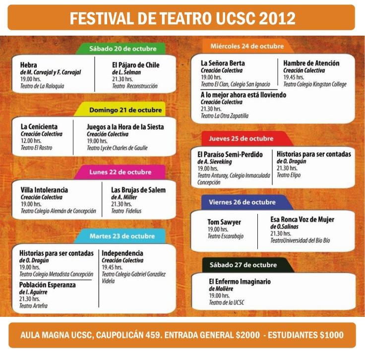 Calendario Festival de Teatro UCSC