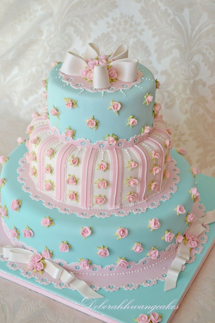 Cath Kidston Inspired Wedding Cake ~ Aqua and Pink
